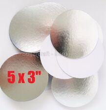 "5 x 3"" ROUND THIN CUT EDGE SILVER cake cupcake boards cards sugarcraft CULPITT"