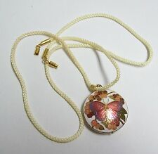 Cream Colored Silk Rope Necklace w/ Peachy Rose Cloisonne Butterfly Pendant