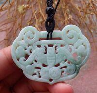 Certified Green Natural A Jade jadeite Pendant Bat Coin Ruyi Necklace 蝙蝠 640775