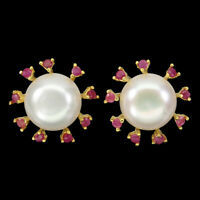 Round Red Ruby 2.5mm White Pearl 14mm Gold Plate 925 Sterling Silver Earrings