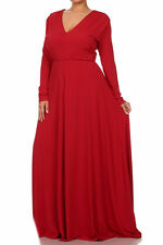 Plus Size Solid Maxi Dress V-Neck Long Sleeve High Waist Full Sweep Long Skirt