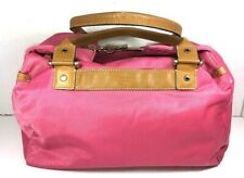 Kate Spade Large Pink Nylon Soft Satchel Brown Leather Trim