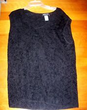 Jones New York Women's Plus 3X Black Shirt Blouse Sweater Vest Elegant Pattern