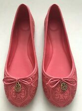New TORY BURCH Chelsea 7 Stitched Logo Ballet Flats Rose Pink Gold Minnie Reva