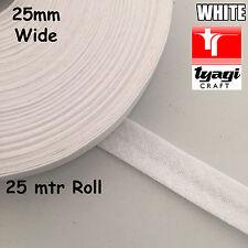RULLO 25mtr larghezza 25mm NASTRO SBIECO 100% cotone bianco bordo di taglio cucitura vincolante Quilt
