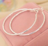 LARGE WHITE GOLD PLATED DESIGN HOOP EARRINGS 60MM HYPOALLERGENIC GIFT WGL34