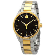 Movado Stratus Black Dial Men's Two Tone Watch 0607245