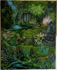 L Cahill Twilight Garden Bridge Koi Pond Gazebo Waterfall Weeping Willow Tree