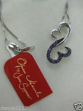 Jane Seymour Ster Silver Open Hearts Amethyst Necklace  NEW WITH TAG   FREE SHIP