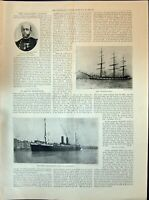 Old 1898 Captain Deloncle Ship Cromartyshire French Transatlantic Lin Victorian