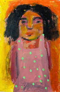 Original Outsider Brut Art Painting Checking In Katie Jeanne Wood