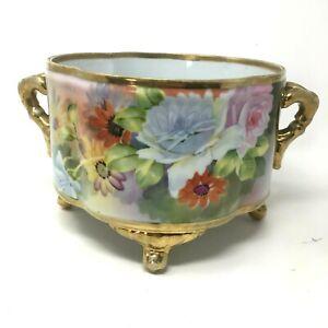Antique Nippon Hand Painted Planter Jardinier Flower Pot Beautiful