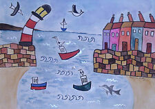 "Quirky, Naive Seaside scene, watercolour painting 11"" x 15"""