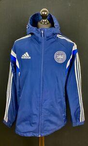 Adidas Denmark Hooded Fleece Lined Training Football Jacket Men's Size L Soccer