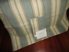POTTERY BARN JOSHUA STRIPE BLUE BROWN STRIPE LINEN (2) STANDARD PILLOW SHAMS