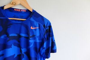 Mens Nike camo fitted training gym top M | blue pro combat VGC Dri-fit