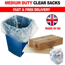 More details for 140g large clear plastic bin liners strong eco 90l refuse sacks recycling bags