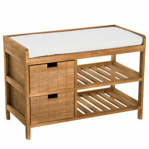 Country Style Shoe Rack Raised Wooden Storage Padded Bench Seat Shelves Drawers