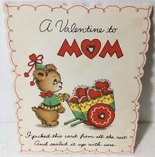 Vtg 1942 Hallmark Valentines Day Card Mom Bear Pushing Cart Full of Hearts Mica