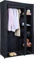 BLACK CANVAS WARDROBE HANGING CLOTHES RAIL MULTI SHELF CLOTHING STORAGE  BEDROOM