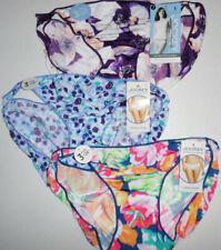 3 Jockey Nylon Bikini Panty Set 1330 No Line Logo Multicolor Flowers 7 L NWT