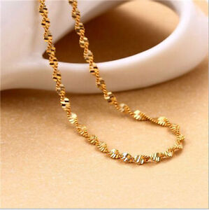 """16-30"""" 1PCS Jewelry 18K Yellow Gold GF Chain Double Water Wave Necklace Pendant"""