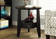 "Monarch Specialities Accent Table - 23""Dia / Cappuccino With 1 Drawer (I-2491)"