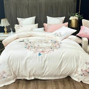 Elegant Embroidery Bedding Set Duvet Cover Flat Sheet Egyptian Cotton Linen 4pcs