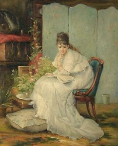 """24""""x 20"""" Oil Painting on Canvas, Young Lady in a White Gown, Hand Painted"""