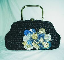 Vintage Black Straw Purse Brass Metal Frame and Handle Handbag