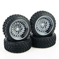 For HSP HPI RC 1/10 Rally Racing Off Road Car 4X Rubber Tires Wheel Rim 12mm Hex