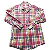 Brooks Brothers 346 Mens Pink Plaid Long Sleeve Plaid Button Up Shirt Size Small