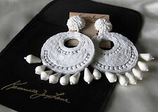 Kenneth Jay Lane Jewelry White Beaded Round Gypsy Disc Clip-On Earrings NEW!