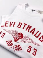 Levi's® Crew Neck Tee Men's White Levi Strauss Biker Logo Regular Fit 22491-0215
