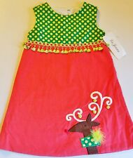 Girls LA JENNS boutique Christmas dress 6x NWT jumper peach lime reindeer fringe