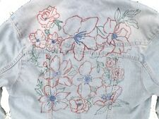 Floral Rose Daisy Vine Hand Drawn Cropped Denim Jacket Small Size 8