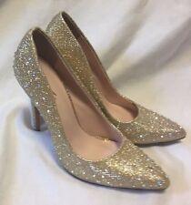 Celeste Pumps High Heels Women's 6M Gold Sequence Rhinestone Studded Dress Shoes