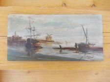 Tableau peinture sur bois ancienne bord de mer signé Melville