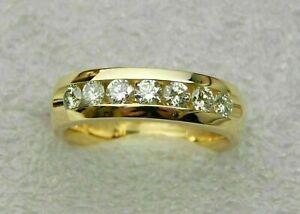 1.25Ct Round Cut Diamond Men's Engagement Wedding Band Ring 14k Yellow Gold Over