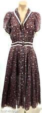 VINTAGE BURGUNDY blue pink FLORAL lace trim BOHO prairie COTTON gauze dress 6 8
