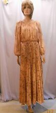 Pretty Vtg 60's/70's Copper Peasant Gown w Open Sleeves & Pleated Skirt Mod 7/8P