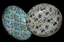 "2 English Wood 9"" Bowls 1 Blue Abstract &  Other One Multi Color Floral & Birds"