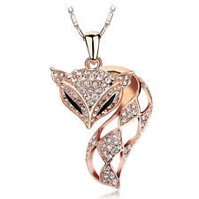 18K Rose Gold Plated Made With Genuine Swarovski Crystal Charming Fox Necklace