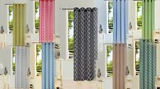 2PC GEOMETRIC PRINTED VOILE SHEER GROMMETS WINDOW CURTAIN PANELS #S38 IN 108 ""