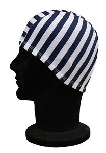 ELASTICATED Adults Polyester Stretchy Swimming Hat Navy Blue White Striped Hat