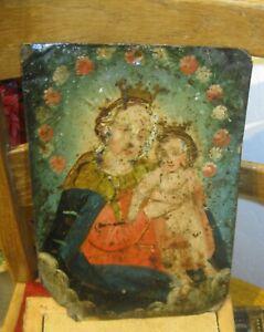 ORIGINAL 1800'S RETABLO ON TIN IMAGE OF OUR LADY OF REFUGE NEEDS TLC