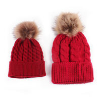 Adult Kids BABY Winter Beanie Hat Wool Knitted Bobble  Fashion Large Fur Pom Pom