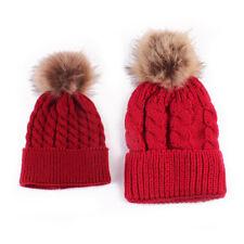 Women Kids BABY Winter Beanie Hat Wool Knitted Bobble Large Fur Pom Pom For Gift