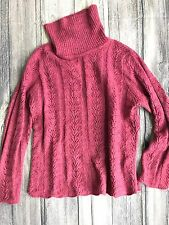 Eddie Bauer Womens Turtleneck XXL Chunky Fisherman Sweater Maroon Merino Wool