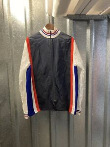 Arsielio Blue White Red Long Sleeve Cycling Full Zip Jacket Size X Large